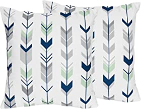Sweet Jojo Designs 2-Piece Grey, Navy and Mint Arrow Print Decorative Accent Throw Pillows for Woodland Arrow Collection