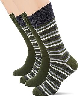 ESPRIT Men's Multistripe 2-Pack Socks Cotton Black Navy Blue Green Thick Calf Length Pattern Mix Plain Stripe For Summer O...