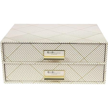 Bigso Box of Sweden Boîte de rangement pour documents et fournitures de bureau - Organiseur de bureau avec 2 tiroirs - Système de rangement en panneau de fibres et papier (Or/Blanc)