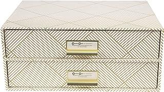 Bigso Box of Sweden Boîte de rangement pour documents et fournitures de bureau - Organiseur de bureau avec 2 tiroirs - Sys...