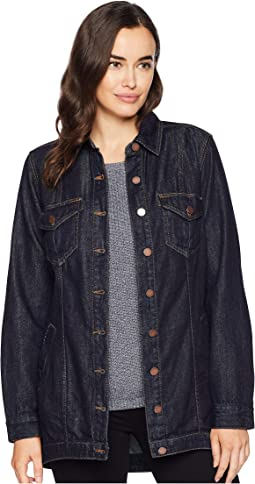 High-Low Shirt Jacket in Classic Soft Rigid Denim