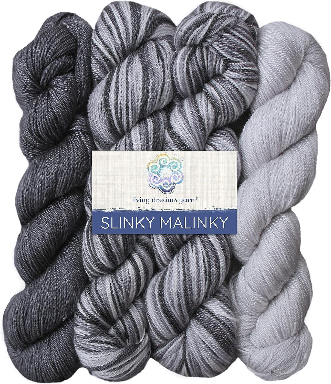 Living Dreams Yarn Slinky Malinky. USA Hand Dyed Superwash Merin