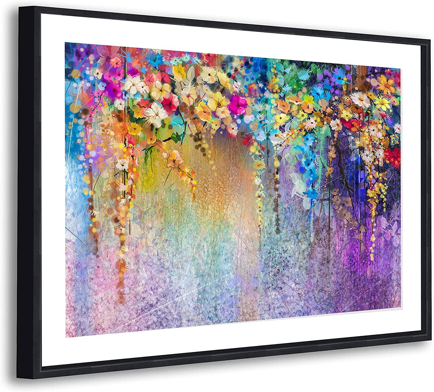 Colourful Flowers Modern Abstract Framed Wall Art Large Picture Prints Amazon Co Uk Kitchen Home