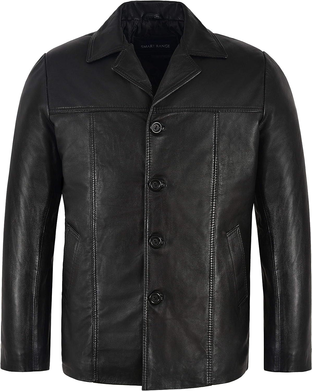 Smart Range Men's Retro Style Real Leather Black Lambskin Reefer Jacket Mid Length Coat 4010