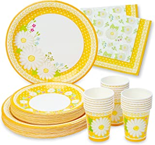 Royal Magnolia Floral Party Supplies -Set of 24- Daisy Paper Plates (7 and 9 Inch), Paper Napkins and Party Cups - Disposa...