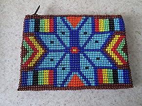 purple gold hand beaded glass seed beads Fair trade Guatemalan handmade southwest design diamond native american geometric pattern zippered coin purse credit card holder pouch bag stash