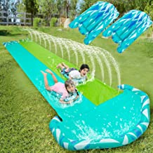 20ft x 62in Slip and Slide Water Slide with 2 pcs of Bodyboards, Summer Toy with Build in Sprinkler for Backyard and Outdoor Water Toys Play