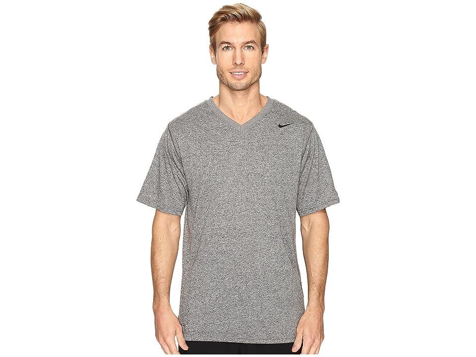 Nike Legend 2.0 Short Sleeve V-Neck Tee (Carbon Heather/Black/Black) Men