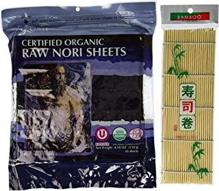 Raw Organic Nori Sheets 50 qty Pack + Free Sushi Roller Mat! - Certified Vegan, Raw, Kosher Sushi Wrap Papers - Premium Unheated, Un Cooked, untoasted, dried - RAWFOOD