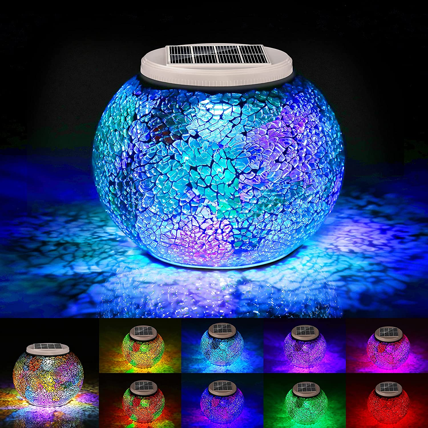 Mosaic Glass Solar Table Light Color Decorative Gorgeous Free shipping anywhere in the nation Change Colorful