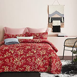 Wake In Cloud - Red Quilt Set, Vintage Floral Flowers Pattern Printed, Soft Microfiber Bedspread Coverlet Bedding (3pcs, Queen Size)