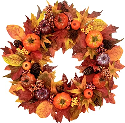 Tiny Land 22 inches-Fall-Wreath for Front-Door-Decor- Handcrafted Boxwood Base- Ideal for Autumn & Halloween & Thanksgiving Day