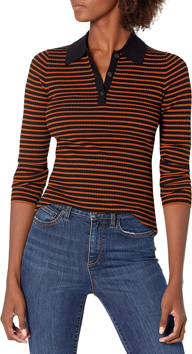 Lark & Ro Women's Standard Premium Viscose Blend Ribbed Long Sleeve Polo Fitted Sweater