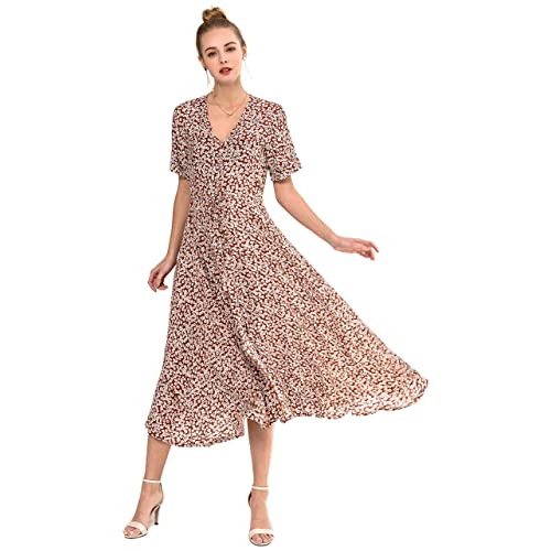 af02e6a771 Wantdo Women's Button Up Split Floral Maxi Dress Casual V-Neck Short Sleeve  Long Dresses