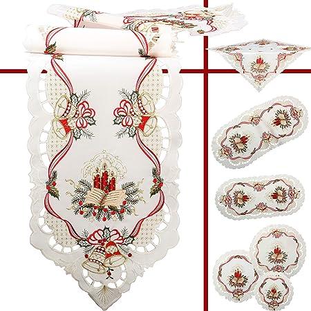 Weiße Calla Blume Stickerei Tischdecke Mitteldecke 85 x 85 cm Satin-Optik Weiß