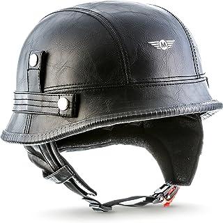 Moto Helmets D33 Casco de Moto Retro con Hebilla de Seguridad Click´n Secure TM Clip y Bolsa de Transporte, Leather Negro, XXL (63-64cm)