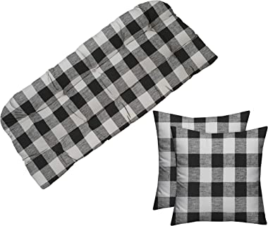 """RSH Décor Indoor Outdoor Tufted Cushion for Wicker Loveseat Settee Bench Black Buffalo Plaid 41"""" L x 19"""" D and Pillow Set"""