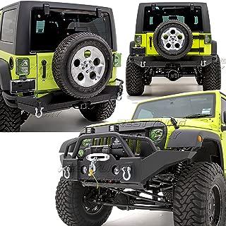 Restyling Factory -Rock Crawler Full Width Front Bumper w/ Winch Plate+Full width Rear Bumper with 2