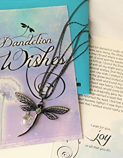 Smiling Wisdom - Black Dragonfly Dandelion Wishes Jewelry Gift Set - Black Dragonfly Necklace with 3 Stand Chain & Dandelion Seed Orb - For Her Women Friend, Retirement, Friendship - Black