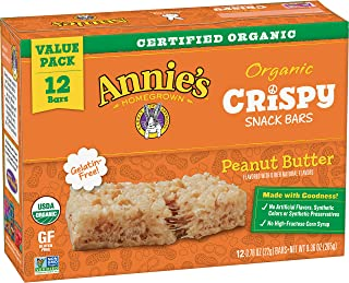 Annie's Peanut Butter Crispy Snack bar, 12Count (Pack of 6)