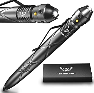 Tactical Pen Self Defense Tool - Multitool with LED Flashlight / Pen Light for Nurses and Doctors | EDC Tac Pens Survival Gear, Police, Military | Black Ballpoint Ink, Gift-Boxed with Extra Batteries