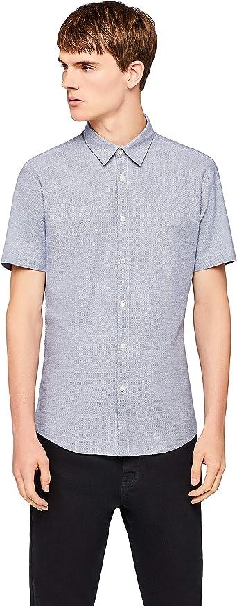 Marca Amazon - find. Camisa de Manga Corta Clásica Hombre