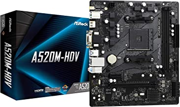ASRock A520M-HDV Supports 3rd Gen AMD AM4 Ryzen/Future AMD Ryzen Processors(3000 and 4000 Series Processors) Motherboard