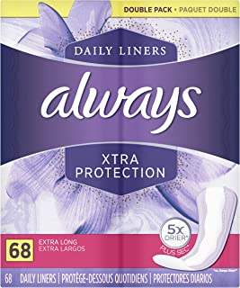 Always Xtra Protection Daily Feminine Panty Liners for Women, Extra Long, Unscented, 68 Count - Pack of 4 (...