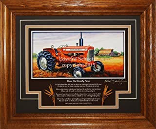 American Memory Prints Art by Ed Schaefer Allis Chalmers Model D17 1957-1967 with The Poem (Bless Our Family Farm) Allis Chalmers Tractor Pictures Art Gift for Dad