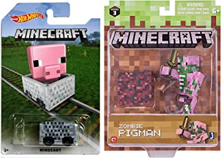 Minecart Hot wheels Pig Card & Zombie Pigman Pack Character Mini-Figure Collector Series 3 with Game Gear Items Set