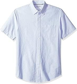 Amazon Essentials Men's Slim-Fit Short-Sleeve Stripe Pocket Oxford Shirt