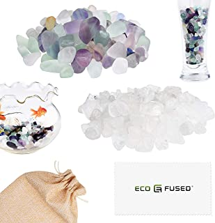 Eco-Fused Tumbled Chips Stone Crushed Glass Crystal Pieces - Fluorite & Quartz Rock - Irregular Shaped Natural Stones for Arts, Crafts, Jewelry, Decor and More - Aquarium, Plants, Candle Decoration