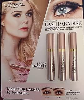 L'Oréal Paris Voluminous Lash Paradise Washable Mascara, Blackest Black 0.28 fl oz x 3, pack of 1