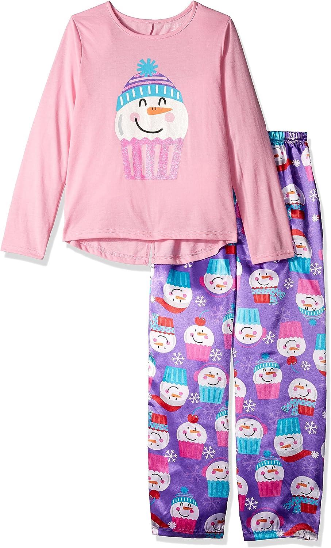 Komar Kids Girls' Big Dotty Owl 2pc Sleepwear Set