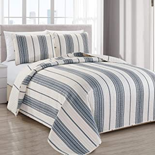 Great Bay Home Modern Bedspread King Size Quilt with 2 Shams. Modern 3-Piece Reversible All Season Quilt Set. Black and White Quilt Coverlet Bed Set. Wesley Collection.