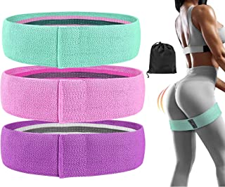 FEGSY Fabric Resistance Loop Bands for Exercise, and Workout Non Slip Hip Booty Bands for Squats, Legs, Thigh, Glutes and ...