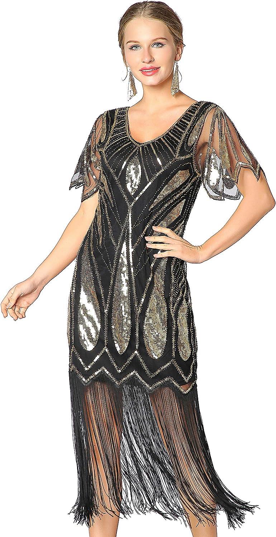 1587f618429 Metme Women's Sequins Beaded Art Deco Lace Dresses 20s Cooktail ...