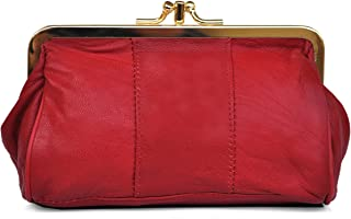 L Cuir dAgneau E x 2 cm H Papillon et poche zipp/ée Porte-Monnaie Clic-Clac R/étro x 10 cm Rouge pour pi/èces et billets 16,5 cm 2 compartiments
