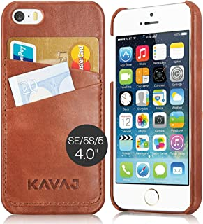 KAVAJ iPhone SE/5S/5 Case Cover Leather Tokyo Cognac Brown - Genuine Leather Back Cover with Business Card Holder. Slim Fi...