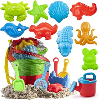 Prextex 19 Piece Beach Toys Sand Toys Set, Bucket with Sifter, Shovels, Rakes, Watering Can, Animal and Castle Molds in Dr...