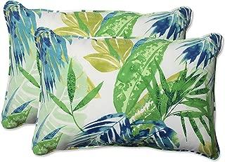 Pillow Perfect Outdoor/Indoor Soleil Over-Sized Rectangular Throw Pillow (Set of 2), Blue/Green