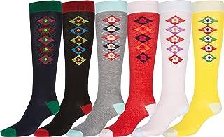Ladies Cute Colorful Design or Solid Knee High Socks Assorted 6-Pack