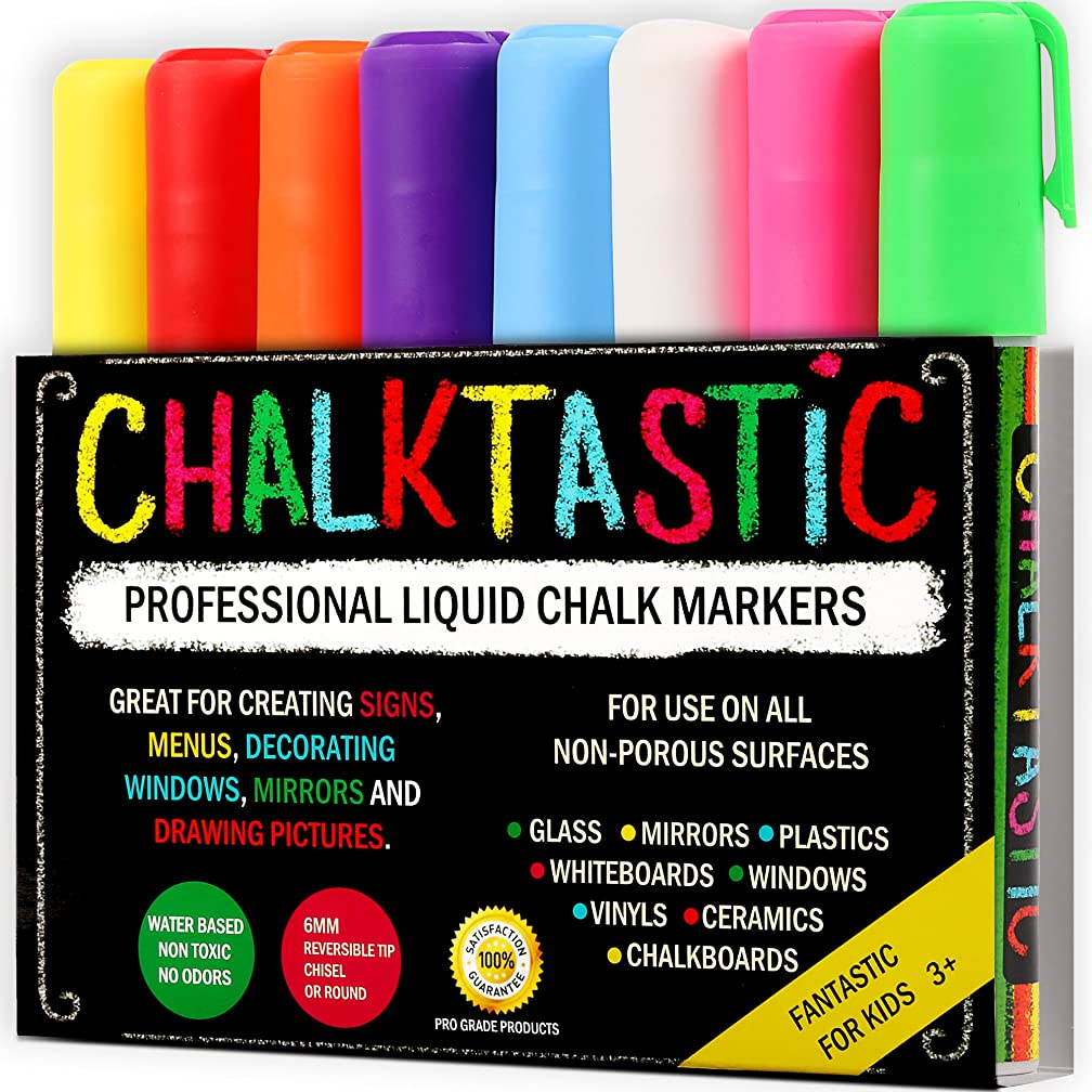 Chalktastic Chalk Markers by Fantastic Best for Kids Art, Chalkboard Labels, Menu Board Bistro Boards, 8 Glass Window Markers, Non-Toxic Erasable Liquid Pens Chisel or Fine Tip