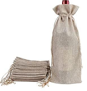 Burlap Jute Wine Bags with Drawstring 12 Pack Natural Linen Gift Bags Reusable Bottle Wrap for Wine Tasting Party Wedding Birthday Christmas