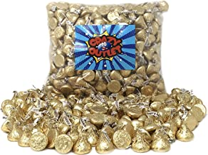 CrazyOutlet Pack - Hershey's Kisses Creamy Milk Chocolate, Limited Edition Gold Wrapping Candy Bulk, 2 Lbs
