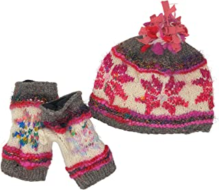 Snowflake Fair Isle Insulated Fleece Lined Hand Knit Hat and Texting Fingerless Gloves Winter Warm Wool