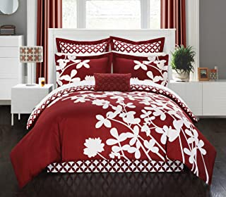 Chic Home 7 Piece Iris Reversible Large Scale Floral Design Printed with Diamond Pattern Reverse Comforter Set, Queen, Red