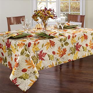 """Elrene Home Fashions Autumn Leaves Printed Fabric Tablecloth for Fall/Harvest/Thanksgiving, 52""""x52"""" Square, Multi"""