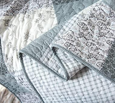 """Soul & Lane Memory Lane 100% Cotton Patchwork Bedding Quilted Throw - 50"""" x 60""""   Sage Lap Bedding Quilt for Couc"""