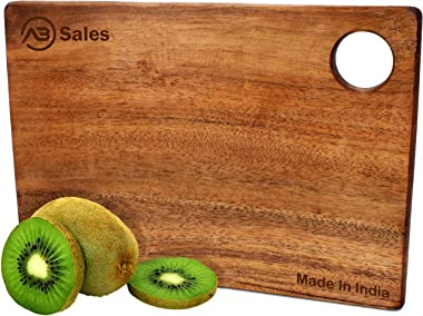 AB SALES Large Wooden Chopping-Board | Cutting-Board with Hanging Handle Hole | Natural Wood | Reversible | Ideal for any Hom